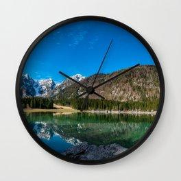 Spring morning at the alpine lake Wall Clock