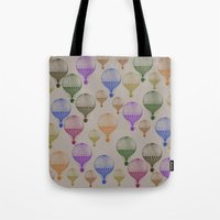 hot air balloons Tote Bags featuring Colorful Hot Air Balloons by Zen and Chic