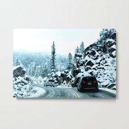 Scenic drive in snow Metal Print