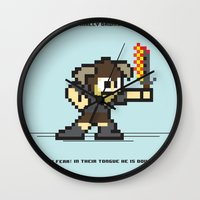 skyrim Wall Clocks featuring 8 bit Dovahkiin by Deep Search