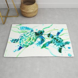 Sea Turtles, Turquoise blue Design Rug