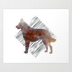 Modern Belgian Malinois Dog Watercolor Stripes Art Print
