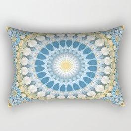 Awaken Mandala Blue and Pale Orange Rectangular Pillow
