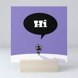 Childrens Room Illustration for Girls and Boys – Hi, little robot Mini Art Print
