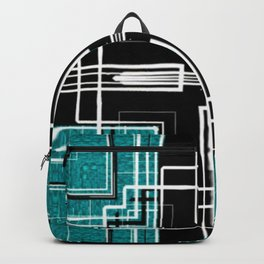 Teal Black and White Line Abstract Backpack