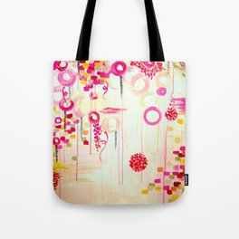 BALLOON LOVE Bubblegum POP! Beautiful Cheerful Bubbles Pretty Pink  Abstract Acrylic Painting Sky Tote Bag