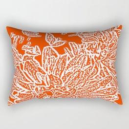 Dahlia Lino Cut, Fiery Red Rectangular Pillow