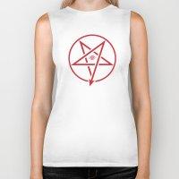 pentagram Biker Tanks featuring Adversary Pentagram by Divine Mania
