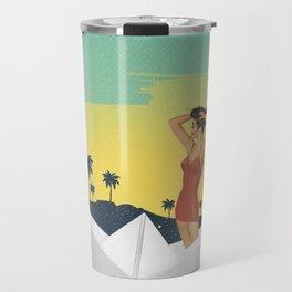 Girl in Boat Collage Travel Mug