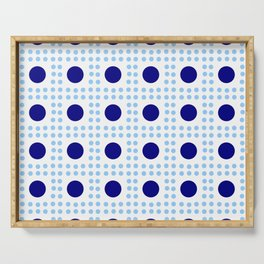 new polka dot 9 - dark and light blue Serving Tray