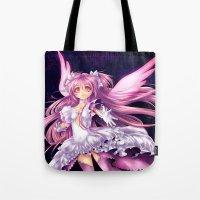 madoka Tote Bags featuring Puella Magi Madoka Magica- Ultimate Madoka by StephanieIllustrations