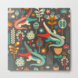 Vintage pattern with colorful crocodiles and flowers. Metal Print