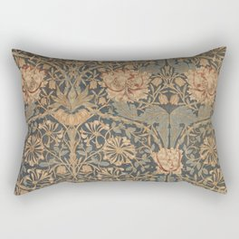 Honeysuckle by William Morris 1876,  Printed Linen, Vintage Pattern, CC0 Spring Summer Rectangular Pillow