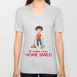 House Smile Clean Man Professional Housekeeper Gift Unisex V-Neck