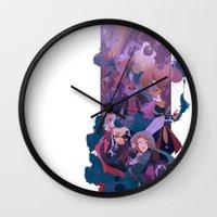 boss Wall Clocks featuring Boss Battle by Ann Marcellino