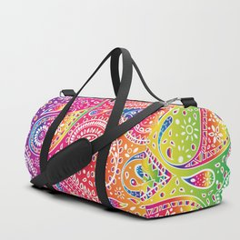 Beautiful Pattern of Paisley Art, Flowers, Doodles - Spectrum and White Duffle Bag