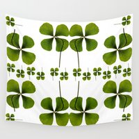 clover Wall Tapestries featuring Lucky Clover by Claudia Araujo