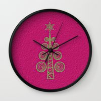 christmas tree Wall Clocks featuring Christmas Tree by Mr and Mrs Quirynen