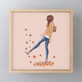 fall girl Framed Mini Art Print