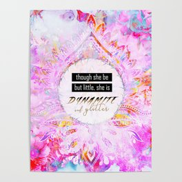 Watercolor Pastel Boho Dynamite and Glitter Poster