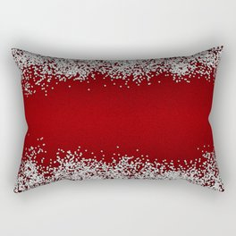 Shiny Red Texture With Silver Sparkles Rectangular Pillow