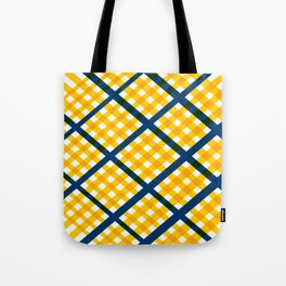 GEOMETRIC YELLOW AND BLUE Abstract Art Tote Bag