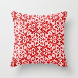 Red Pink and White Mini Mandala Abstract Flowing Floral Dotted Spirit Organic Throw Pillow