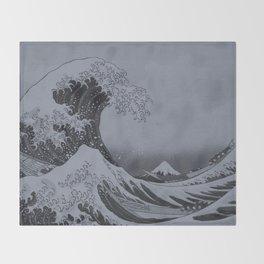 Silver Japanese Great Wave off Kanagawa by Hokusai Throw Blanket