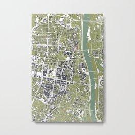 Warsaw city map engraving Metal Print