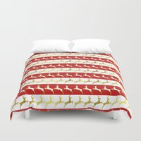reindeer Duvet Covers featuring Reindeer by Laura Maria Designs