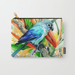 Tropics, Amazon JUngle Parrot and Tropical Foliage Jungle floral design Carry-All Pouch