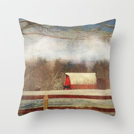 Misty Mountain Barn Throw Pillow
