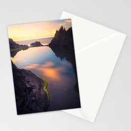 Still Waters and Sunset on Natural Lava Pool Stationery Cards