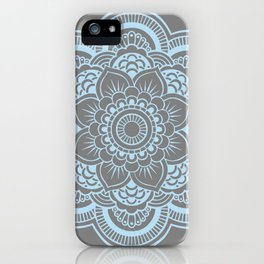 Mandala Flower Gray & Baby Blue iPhone Case
