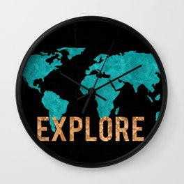World Map - Teal and Copper Explore Globe Wall Clock