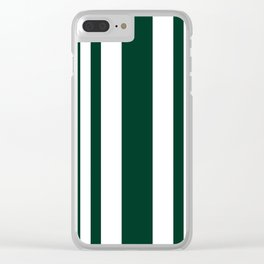Mixed Vertical Stripes - White and Deep Green Clear iPhone Case