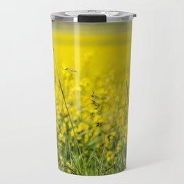 Red poppy in a yellow field Travel Mug