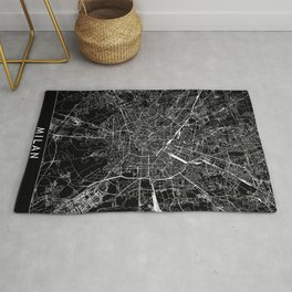 Milan Black Map Rug