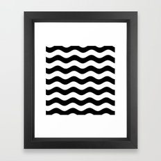 Wavy Stripes (Black/White) Framed Art Print