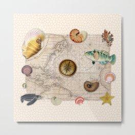 Marine Treasures Beige Tan Stained Glass Pattern Metal Print