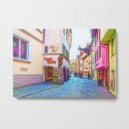 Typical German colorful street in Lindau, Germany Metal Print