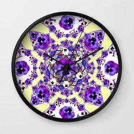 MANDALA OF PURPLE PANSY ART DESIGN ART Wall Clock