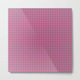 Pink Grey Houndstooth Pattern Metal Print