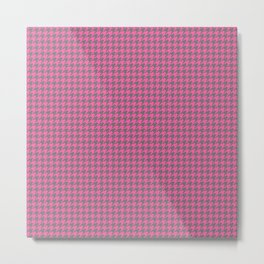 Pink Grey Houndstooth Pattern Metal Print