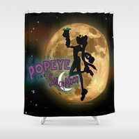 popeye Shower Curtains featuring POPEYE THE SAILOR MOON - 001 by Lazy Bones Studios