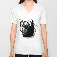 venom V-neck T-shirts featuring Venom  by D77 The DigArtisT