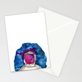 man in galaxy space watercolor painting  Stationery Cards