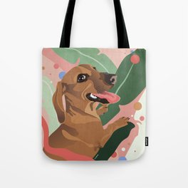 Dachshund puppy with palm leaves in bold colors Tote Bag