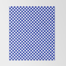 Small Cobalt Blue and White Checkerboard Pattern Throw Blanket