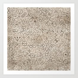 Alchemy symbols and Astrological symbols pattern #1 Art Print
